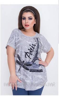 """Летняя женская футболка """"Paris"""", батал, Турция, 555"""