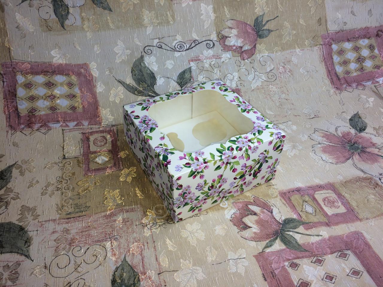 Коробка для 4-ох кексов / 170х170х90 мм / печать-Весна / окно-обычн / лк / цв
