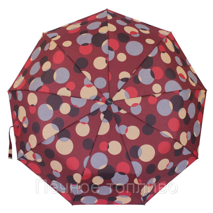 Зонт складной  полуавтомат Бордовый с кругами