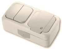 Viko Palmiye Выключатель 2-х клавишный+ Розетка с заземлением крем