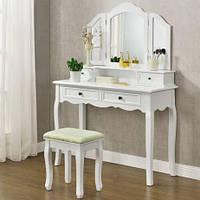 Будуарный столик с 3-ма зеркалами и пуфом, фото 1