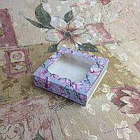 Коробка для пряников Печать Магнолия с окном   120*120*30, фото 1