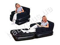 Bestway Надувное кресло-трансформер 2в1 серии Comfort Quest покрытое флоком. Можно использовать и как кресло, и как кровать. В к
