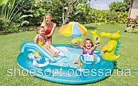 Надувной детский игровой центр бассейн с горкой Крокодил Intex от 3 лет