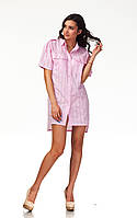 Платье-рубашка хлопковая. Модель П112_хлопок клетка розовая., фото 1
