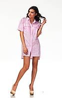 Платье-рубашка хлопковая. Модель П112_хлопок клетка розовая.