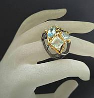 Кольцо серебро 925 пробы аквамарины, фото 1