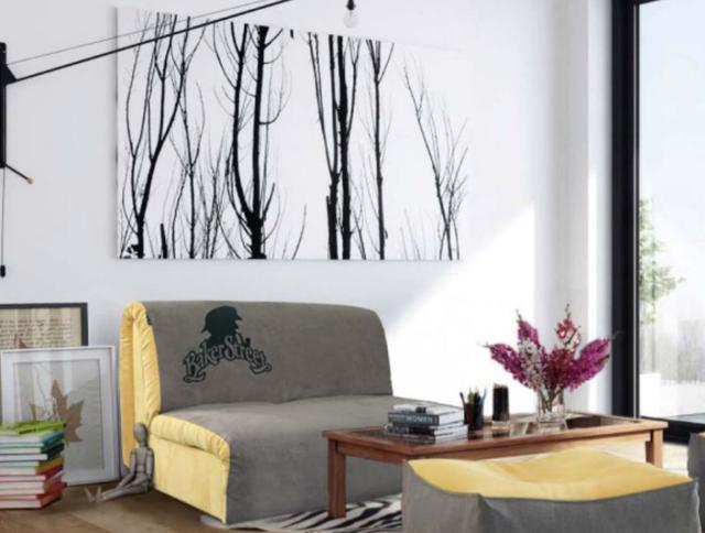 Диван Хеппи 1,3 см., принт 07 ткань Бонд Mocco 14/Yellow 08 рисунок L (В интерьере)