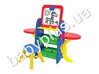 Мольберт пластиковый,магнитный №5 (доска, стульчик, маркер, губка, мел, буквы, цифры, знаки)