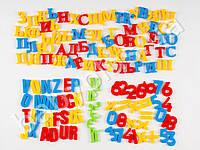 Набор магнитных букв, рус/англ/укр, буквы, цифры, математические знаки, в кульке