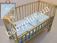 Комплект постельного белья в кроватку ранфорс цвет голубой (пододеяльник, наволочка, простынь на резинке)