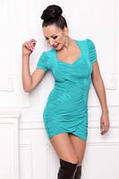 Туника летняя облегающая масло ткань, платье бирюзовое, платье красивое нарядное повседневно, фото 1