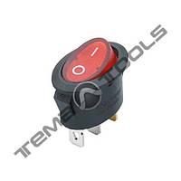 Перемикачі клавішні (рокерные) КП-11-І-220В овальний, 3 контакту, ON-OFF або ON-ON з фіксацією