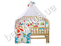 Комплект в детскую кроватку 6 предметов ткань поликоттон, Малютка Бабочка, цвет белый (балдахин, мягкие бортики, карман, подушка