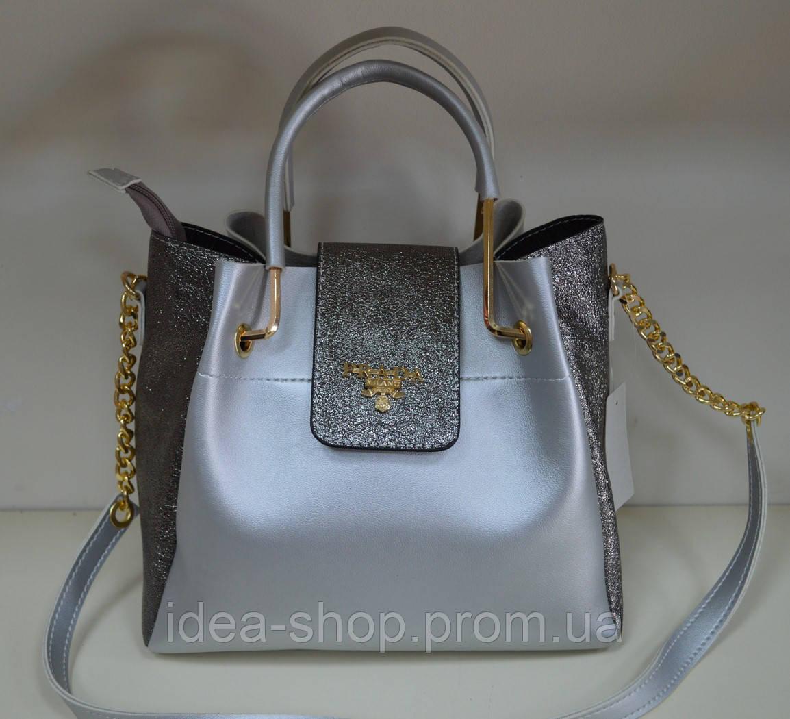 7dd311f109d9 Стильная сумка PRADA из экокожи цвета серебро: продажа, цена в ...