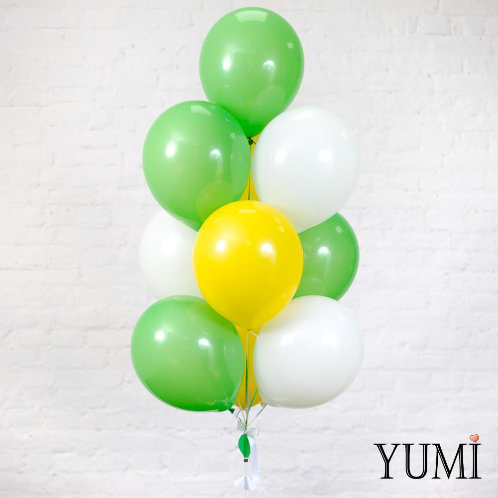 Связка из 4 зеленых, 3 желтых и 3 белых шаров + декор: гир0лянда воздушные шары с корзиной и объемные облака