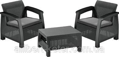 Комплект садових меблів зі штучного ротангу BAHAMAS WEEKEND графіт (Keter)