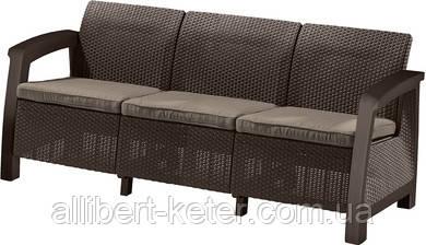 Тримісна софа зі штучного ротангу BAHAMAS LOVE SEAT MAX графіт (Keter)