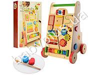 Деревянная игрушка Каталка, игровой центр, ксилофон, счеты, трещотка, в коробке