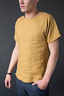 Мужская футболка из льна, рубашка-футболка, цвет на выбор, фото 1