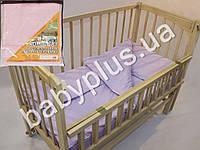 Комплект постельного белья в кроватку ранфорс цвет розовый (пододеяльник, наволочка, простынь на резинке)