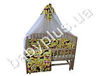 Комплект в детскую кроватку 6 предметов ткань поликоттон, Малютка Смайлики (балдахин, мягкие бортики, карман, подушка, одеяло, п