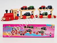 Деревянная игрушка Паровозик, каталка, 15-11,5-8см, машинка 6шт, в кульке