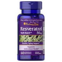 Ресвератрол 60 капсул по 50мг - экстракт красного вина, антиоксидант долголетия