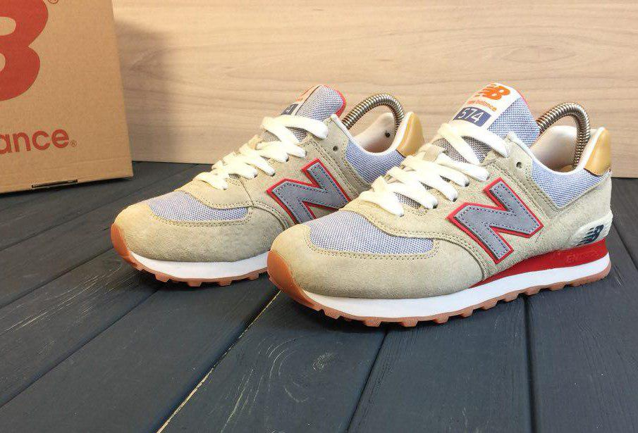 Кроссовки New Balance 574 beige red, цена 990 грн., купить в ... d3fe86e7d59