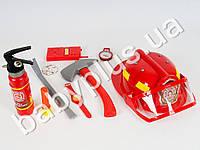 Набор пожарника, каска, огнетушитель, топор, лом, компас, в кульке