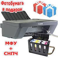 Полное решение: МФУ CANON E414 + СНПЧ Черный Печать фото текста студия принтер сканер копир подарки фотобумага
