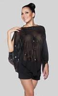 Туника летняя шифоновая свободного покроя черного цвета, туника накидка в паетках красивая , фото 1