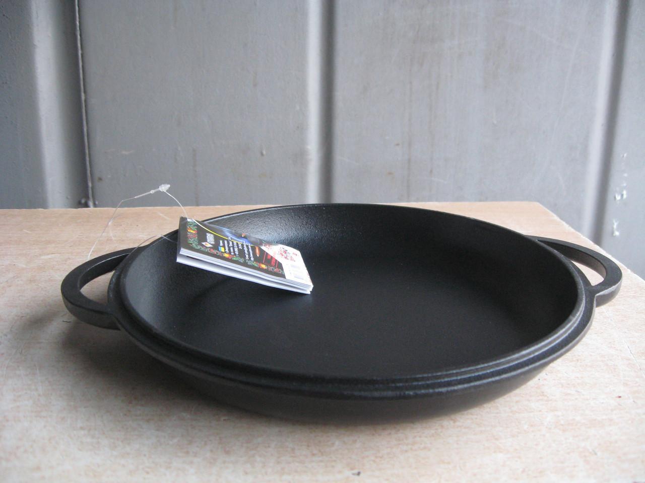 Крышка-сковорода чугунная, эмалированная.  Диаметр 260мм.