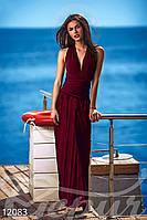 Бордовое длинное платье трансформер