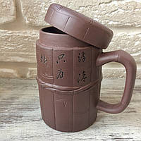 Чашка с крышкой из иссинской глины. Подарочный вариант. Термокружка.