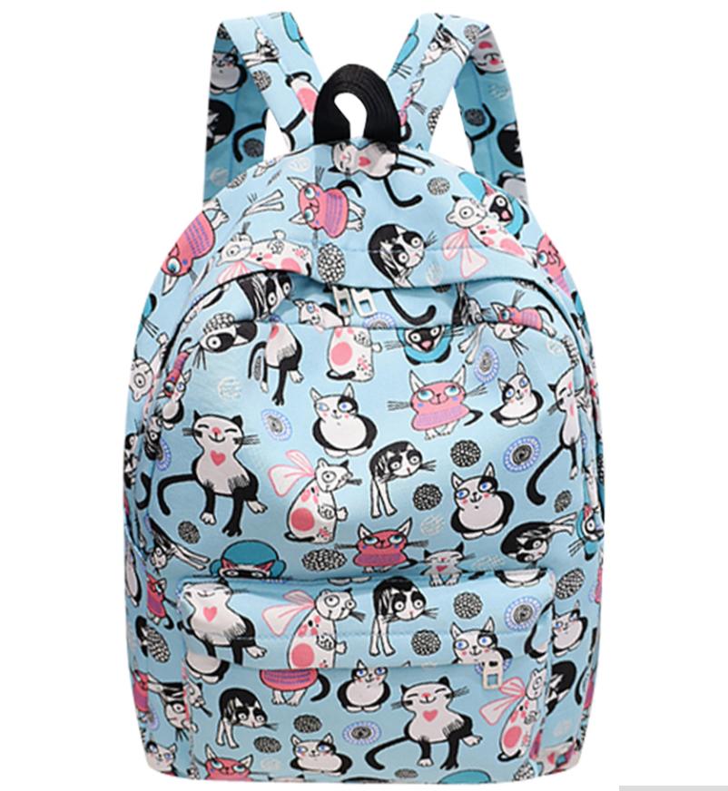 Новинка !!! Рюкзак школьный городской Кошки Мятный Красный Кошечки Коты Портфель Сумка