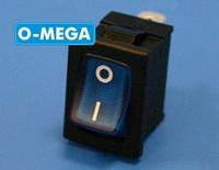 Кнопочный выключатель, Клавиша мини, с подсветкой, 3 контакта, с фиксацией, защёлка 18,8 * 12,9 мм.