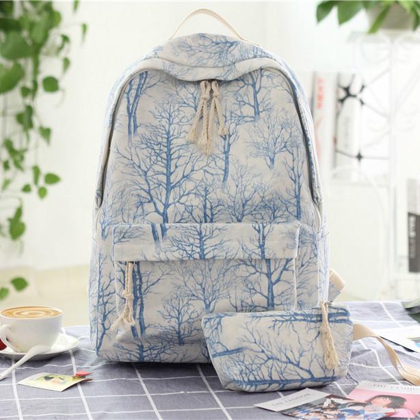 городской рюкзак с косметичкой деревья