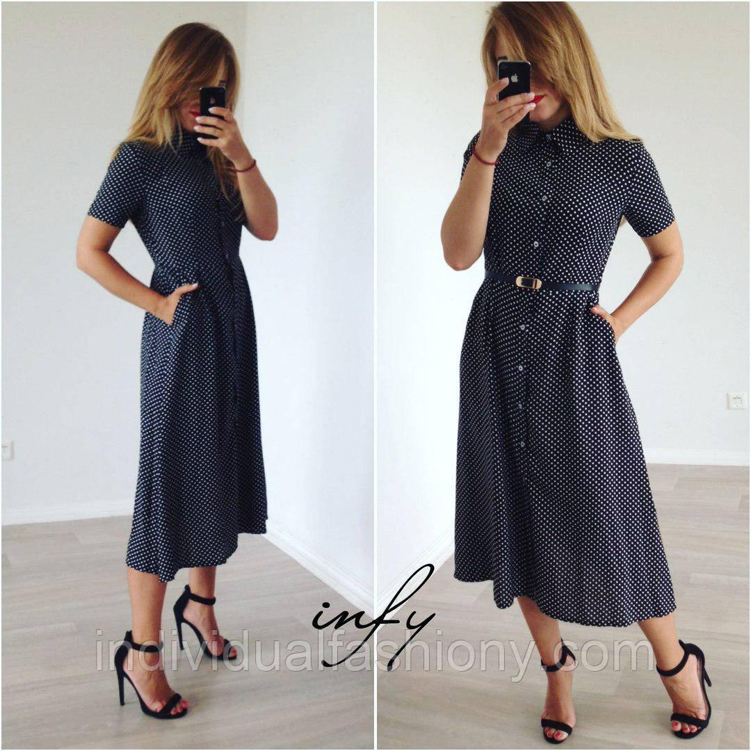 Платье рубашка миди в горошек короткий рукав