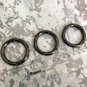 Кольцо-карабин, черное серебро, d - 35 мм