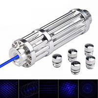 Лазерная указка с насадками и встроенным аккумулятором в кейсе Blue Laser YX-B008 B017 50000mW