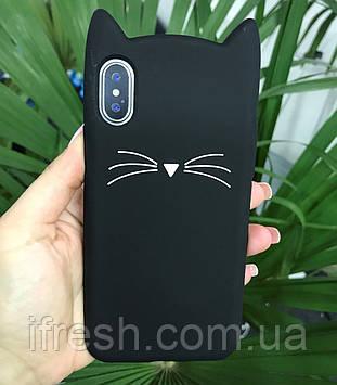 Чехол Котик для iPhone X/XS, черный