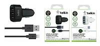 Автомобильное зарядное устройство (АЗУ) - Belkin 3 USB 5.1 A + кабель для iPhone 5