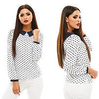 Женская стильная шифоновая блуза с контрастным  воротничком и длинным рукавом