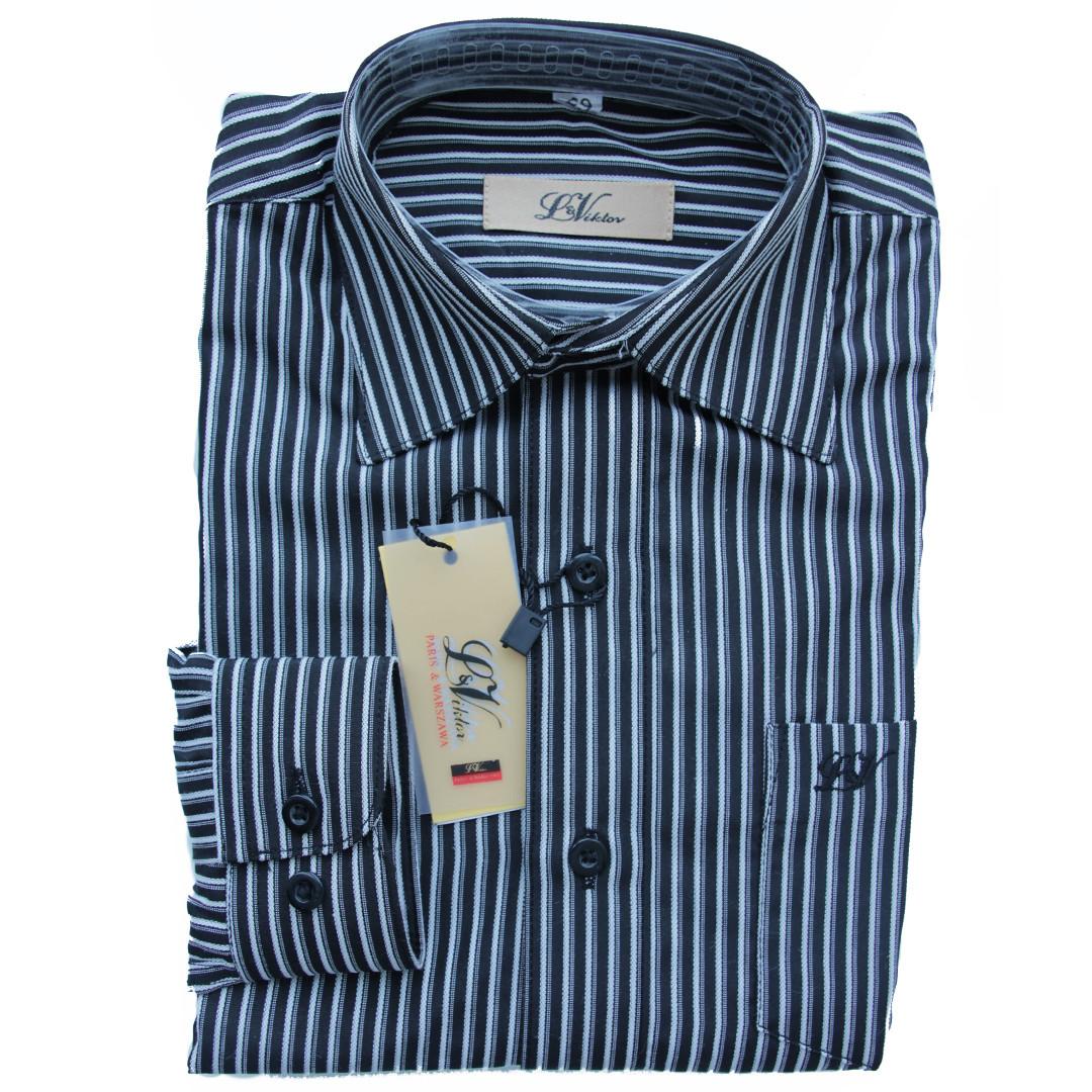 Школьная рубашка для мальчика Victor длинный рукав приталенная черная в полоску