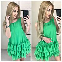 Шифоновое платье с рюшами: коралловое, голубое, желтое, зеленое