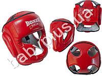 Шлем тренеровочный каратэ Элит L (кожа 1,0-1,2мм, нап. - пенопоролон) красный