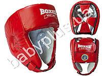Шлем боксерский Элит M (кожа 1,0-1,2мм, нап. - пенопоролон) красный
