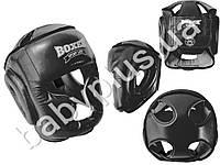 Шлем тренеровочный каратэ Элит L (кожа 1,0-1,2мм, нап. - пенопоролон) черный