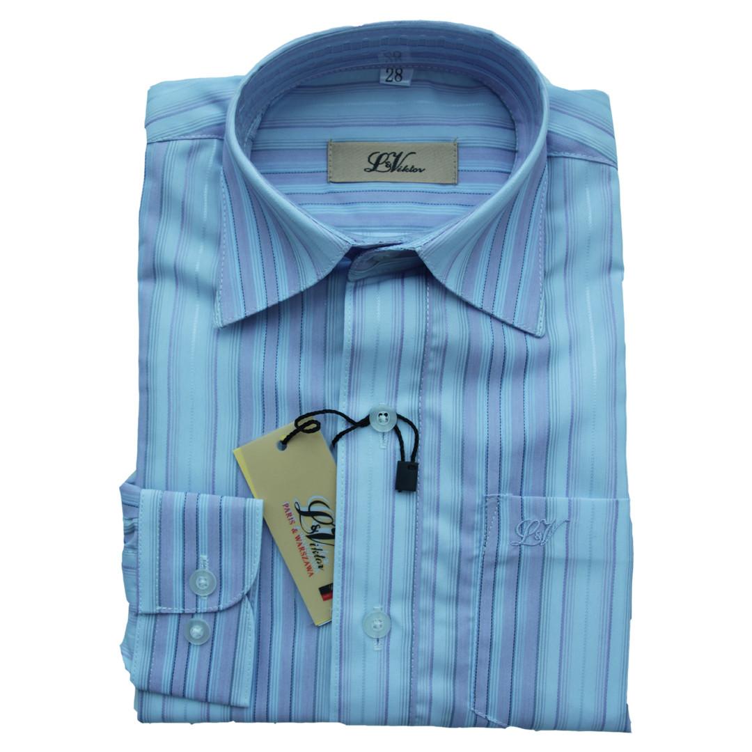 Рубашка с длинным рукавом для мальчика 110 рост приталенная голубая в полоску